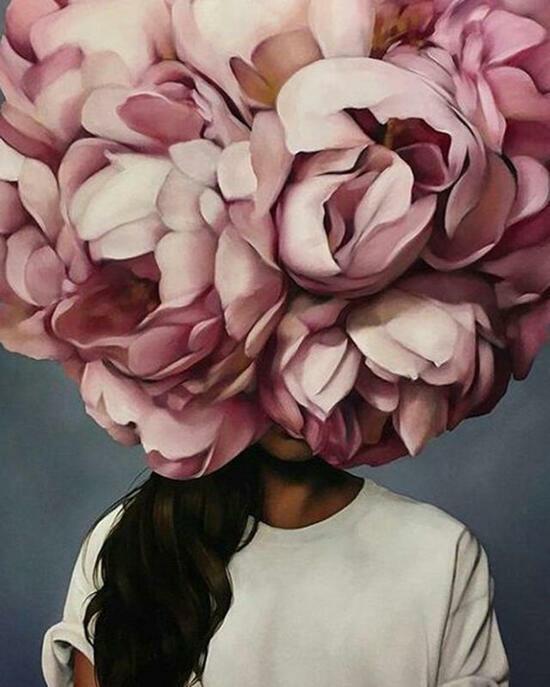 Картина по номерам 40x50 Брюнетка с пионом на голове