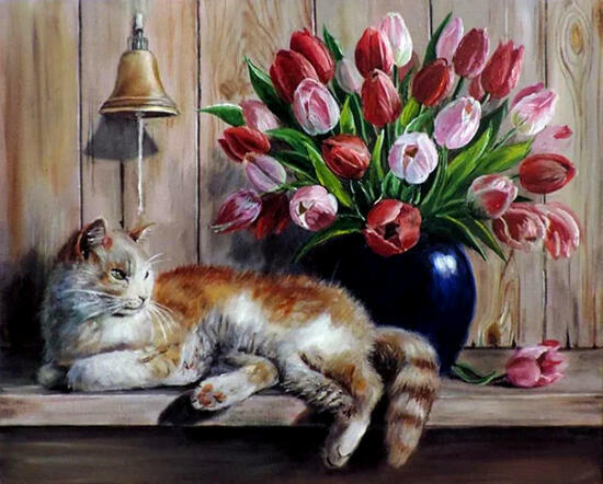 Картина по номерам 40x50 Белый с рыжим кот и букет тюльпанов